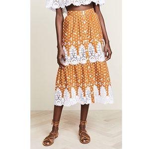 Miguelina Orange Carolina Midi Skirt
